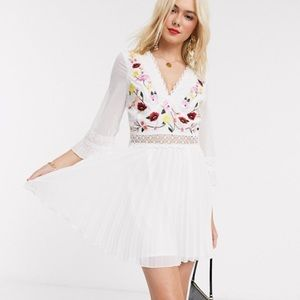 ASOS DESIGN lace insert pleated dress embroidered